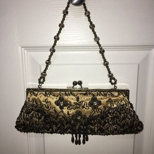 GORGEOUS GOLD BEADED CLUTCH-WITH OR WITHOUT STRAP